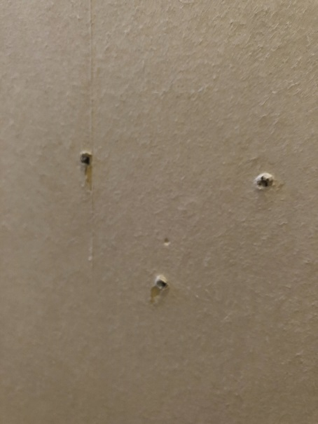 ネジを外したあとがポコっと飛び出している壁