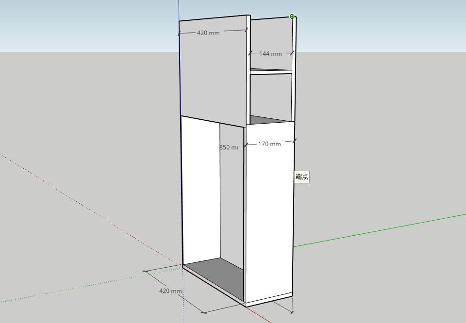 隙間収納を作るためにスケッチアップで書いた設計図