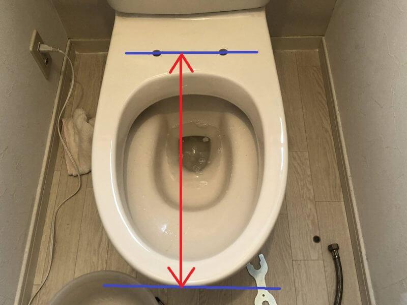 ウォシュレット設置のために便器の寸法を確認するときの計測ポイント