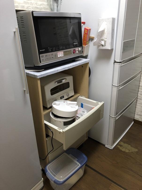 キッチン後ろの棚 DIYで作る前に仮設置してた棚